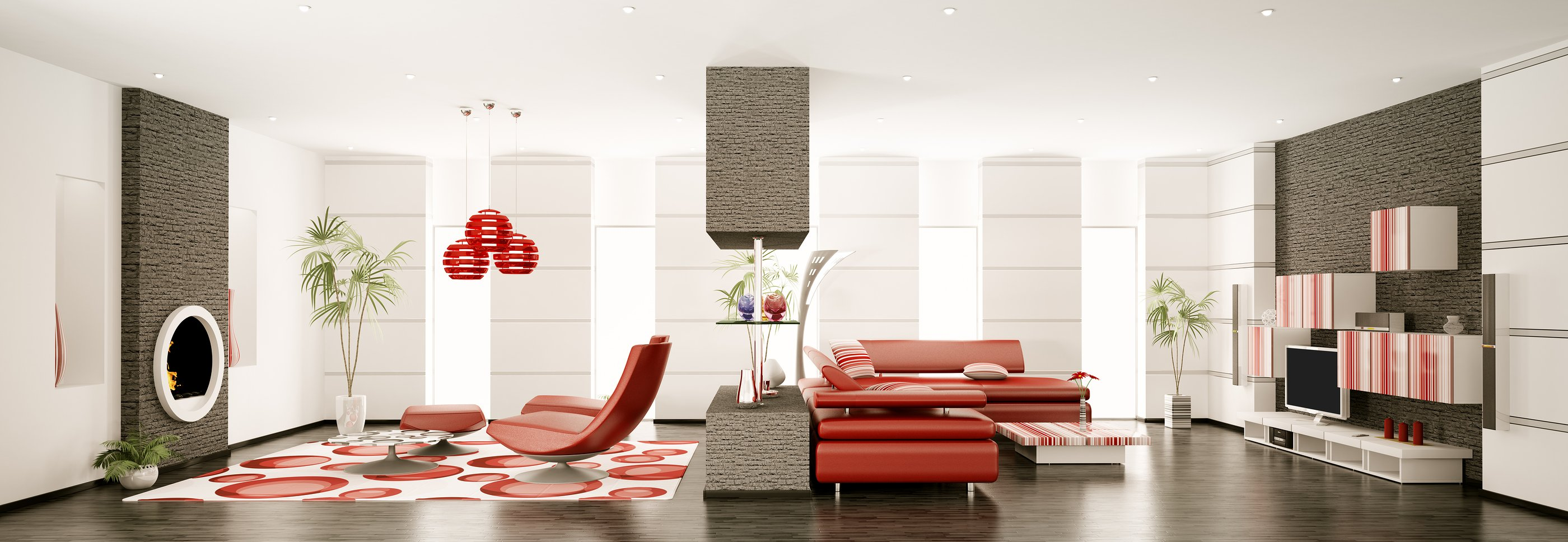 Red Chairs, Red Couches, Modern Simplistic Interior Design